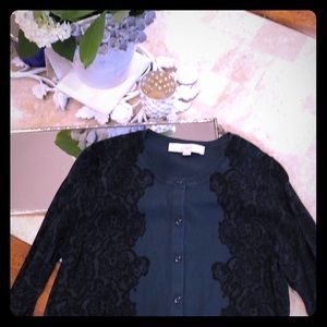 Green/black lace pattern lightweight LOFT cardigan
